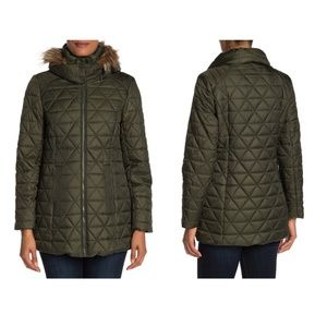 Andrew Marc Faux Fur Trim Hood Quilted Jacket